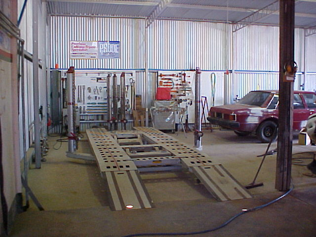 Genesis Chief EZ-LINER frame measuring and straitening system.