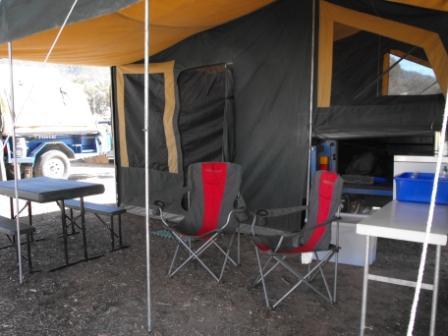 CAMEL camper trailer at Rock the Mount set up as a DELUXE package