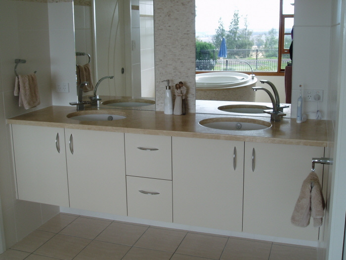 Double bowl vanity with travertine top